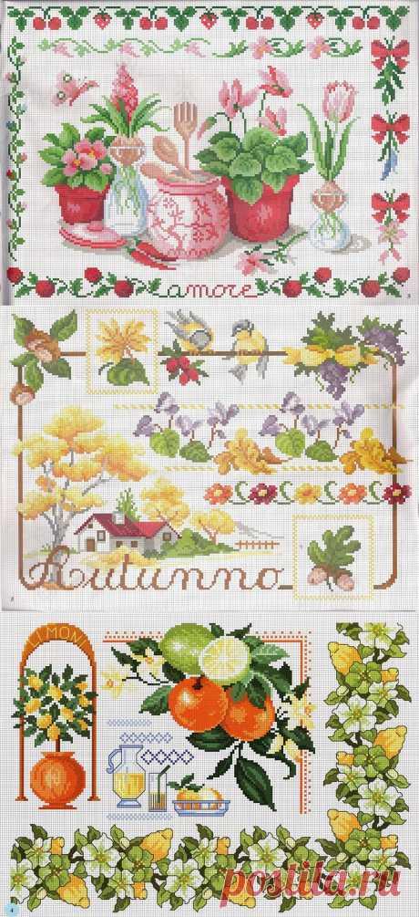 Схемы для вышивок крестиком (ягодки-цветочки).