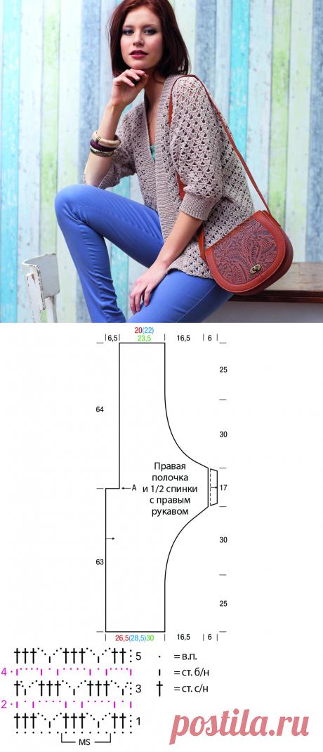 Кардиган с рукавами «летучая мышь» - схема вязания крючком. Вяжем Кардиганы на Verena.ru