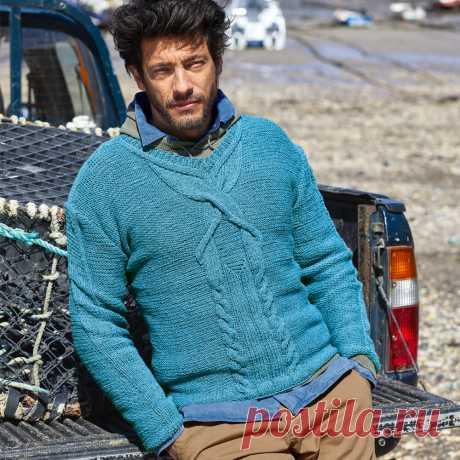 Мужской пуловер с рельефным мотивом из «кос» - схема вязания спицами. Вяжем Пуловеры на Verena.ru
