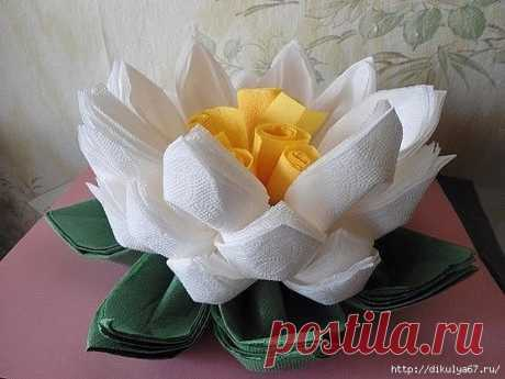 Цветок лотоса из салфеток к праздничному столу