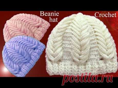 Gorro a Crochet en punto espigas de trigo en relieve tejido tallermanualperu