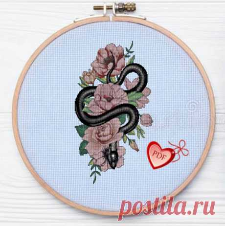 Modern Abstract Cross Stitch Pattern Snake in Roses Floral | Etsy