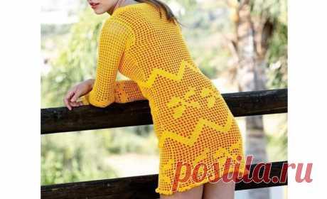 Филейное желтое платье Желтое платье для девушки в филейной технике. Схема