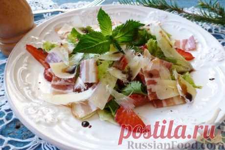 Рецепт: Салат с клубникой, сыром и сырокопченым мясом на RussianFood.com