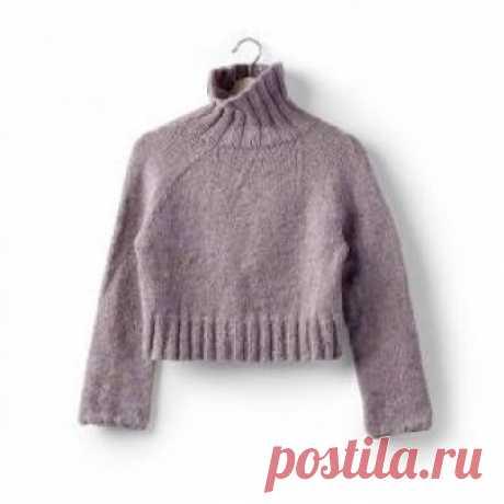 Кроп свитер с круглой кокеткой спицами Стильный молодежный укороченный свитер, связанный на спицах 6 мм из толстой смесовой пряжи цвета меланж. Вязание модели начинается от нижнего...