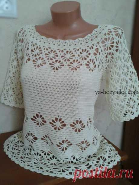 """Блуза """"Паучки"""" Блуза крючком с узором Паучки.Ажурная блуза крючком красивым узором"""