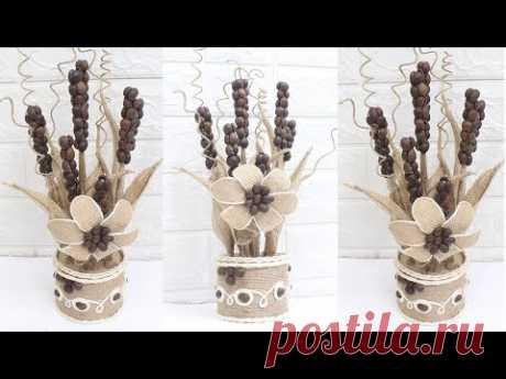 5 Easy flower vase with jute | Home decorating ideas handmade - YouTube