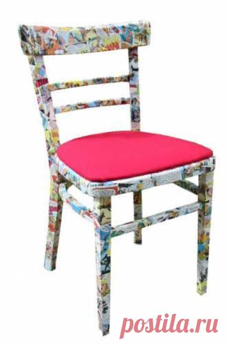Коллажный декор стула.