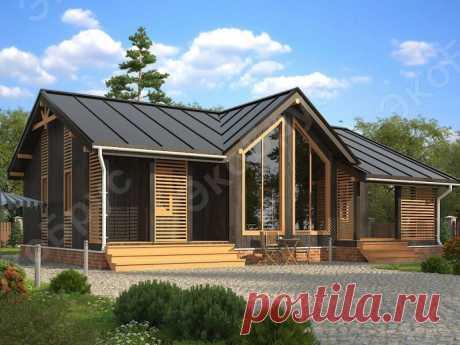 Проект одноэтажного дома с тремя спальнями и сауной: необычный готический коттедж | ЭкоБрус - каркасные дома | Яндекс Дзен