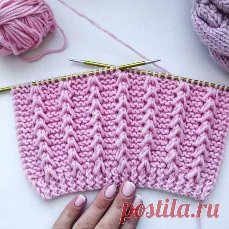 Красивый и простой рельефный узор спицами для вязания джемпера, свитера, кардигана, шапки.