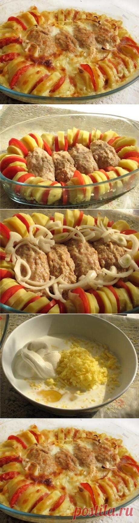 Как приготовить запеченные куриные котлетки с гарниром полосатый рейс - рецепт, ингредиенты и фотографии