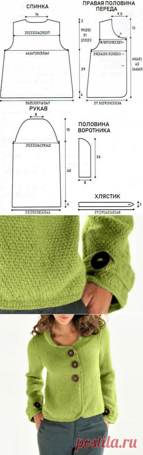 Стильный жакет несложным узором, связанный спицами, с описанием | Идеи рукоделия | Яндекс Дзен