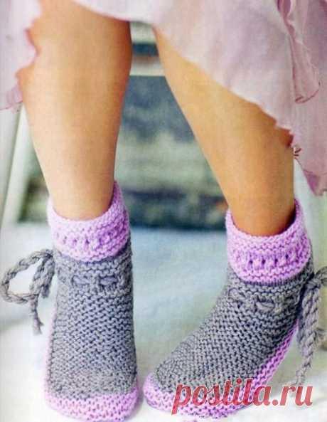 Милейшие носочки, похожие на тапочки из категории Интересные идеи – Вязаные идеи, идеи для вязания