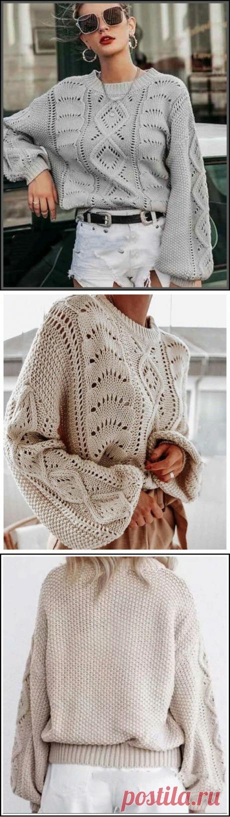Пуловер с ажурным узором ромбы и широким рукавом (схемы)
