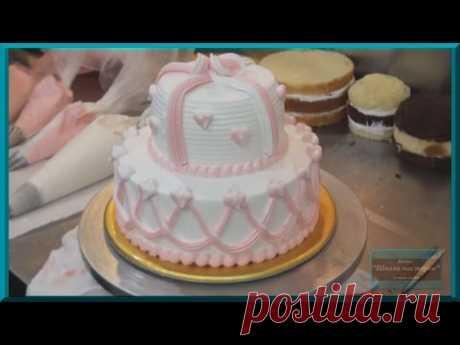 Wedding cake. How to decorate cake. Decoration of cakes cream. Decoration of cakes in house conditions