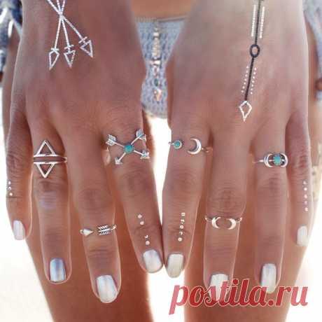 6 шт. старинные турецкий пляж панк луна стрелка кольцо установить этническая резные посеребренные Boho миди палец кольцо костяшки шарм anelli купить на AliExpress