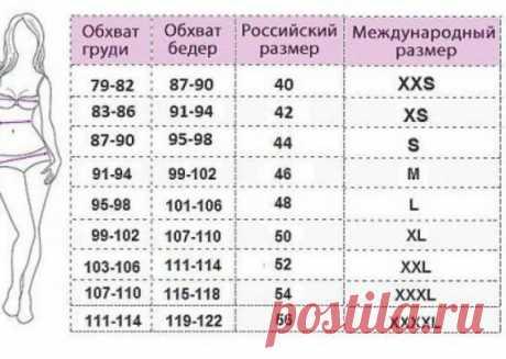 Универсальная таблица размеров.