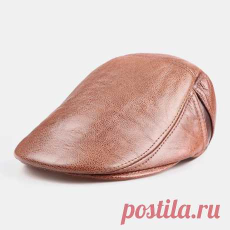 Men Genuine Leather Single Layer Solid Color Casual Fashion Forward Hat Beret Ha - US$35.99