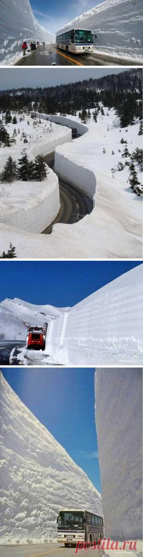 Вы видели столько снега? Снежные стены на дорогах Японии.