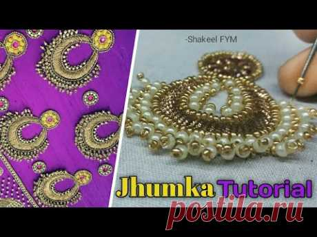 AARI WORK JHUMKA DESIGN TUTORIAL | jhumka design embroidery | jhumka design for blouse - YouTube
