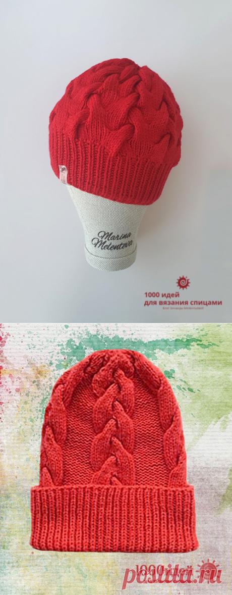 Вязаная шапка спицами женская зимняя схема и описание комплекта