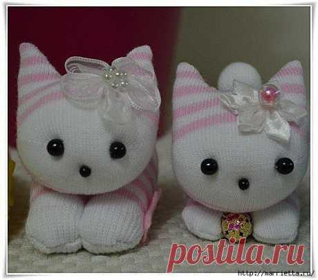Забавные и очень милые котята из носков. Мастер-класс - Рукоделие