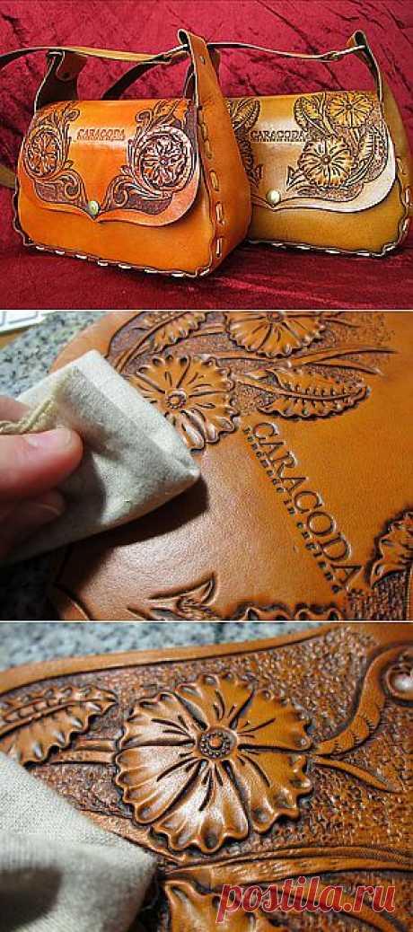 Весенняя сумочка из кожи с гравировкой ...