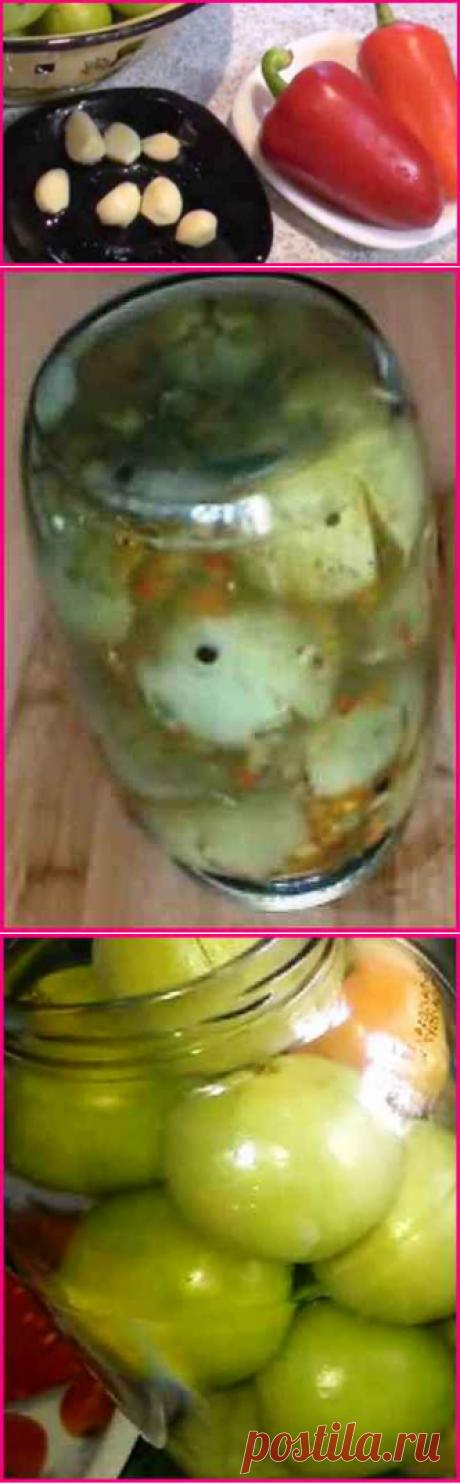¡Los tomates verdes para el invierno, muy sabroso, simplemente para chupar los dedos!.