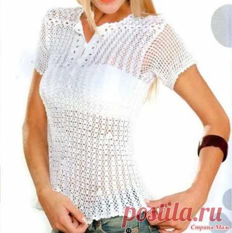 Белая блуза или рубашка-поло - Все в ажуре... (вязание крючком) - Страна Мам