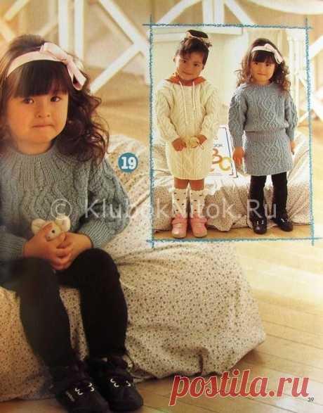 Серое платье  с аранами   Вязание для девочек   Вязание спицами и крючком. Схемы вязания.