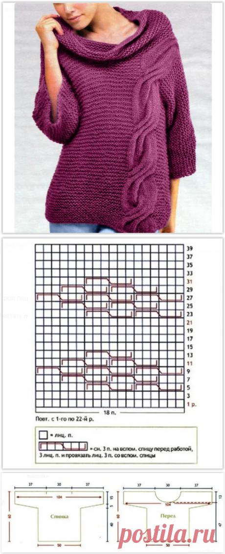 """Модный малиновый пуловер простой вязкой с крупным узором """"жгут"""""""