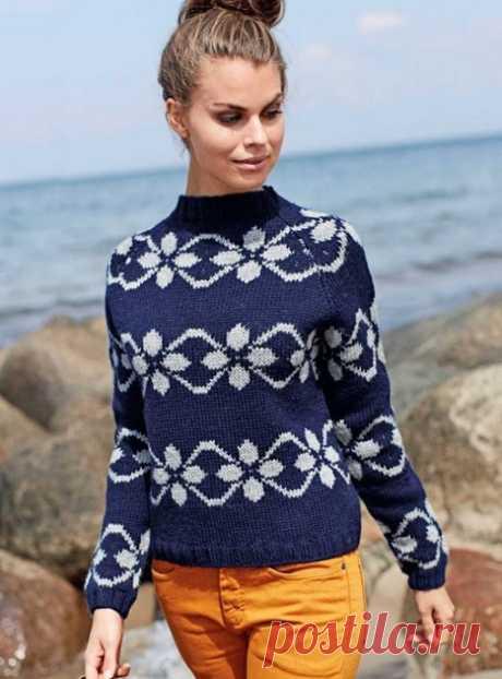 Красивый пуловер с эффектным узором из категории Интересные идеи – Вязаные идеи, идеи для вязания