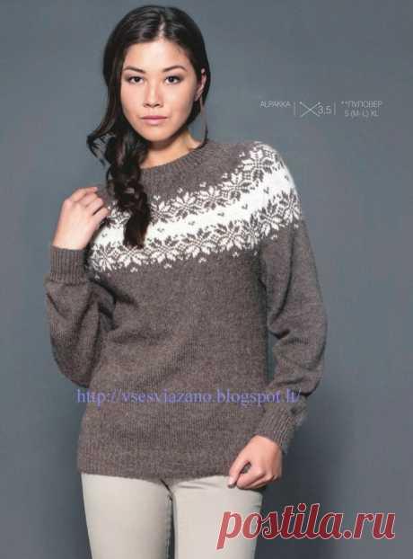 ВСЕ СВЯЗАНО. ROSOMAHA.: Пуловер с жаккардовой круглой кокеткой.