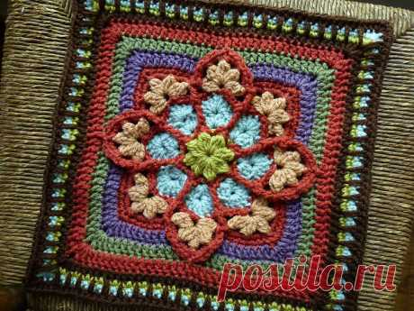 Amazing stained glass motive on the Afghan squares