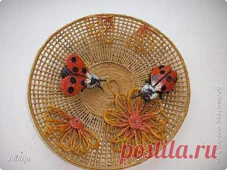 Изготовление тарелки - панно из джутовой верёвки. | Страна Мастеров