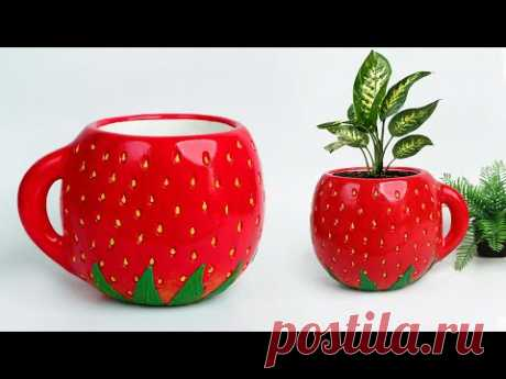 Strawberry shape Tree pot / Flower Vase making || Cement flower pot - सीमेंट फूल फूलदान बनाना