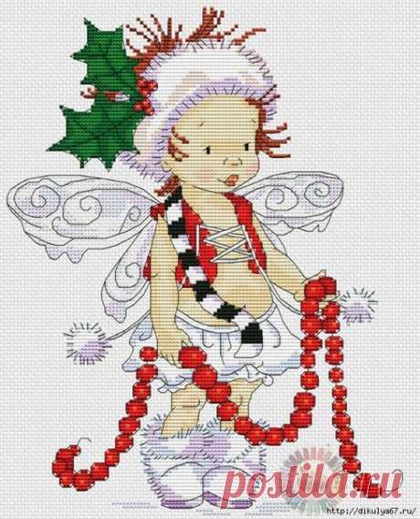 Рождественские эльфы. Вышивка крестиком