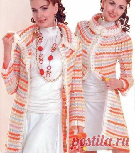 Легкое вязаное пальто из мохера