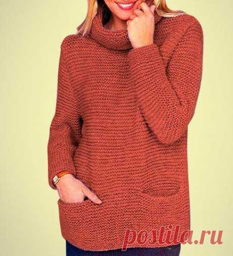 ПРОСТОЙ СВИТЕР С КАРМАНАМИ  Этот уютный свитер вяжется самым простым узором — платочной вязкой. Его несложно связать даже начинающим пробовать свои силы в рукоделии.  Для данного свитера можно выбрать любой цвет пряжи, он будет прекрасно смотреться в любых тонах.  Он смело может стать не только приятным дополнением к вашему гардеробу в холодное время, но и любимой вещью.  Описание дано для размеров: (42/44) 46/48 (50/52).  Вам потребуется: Пряжа - (60% шерсти, 40% полиакри...
