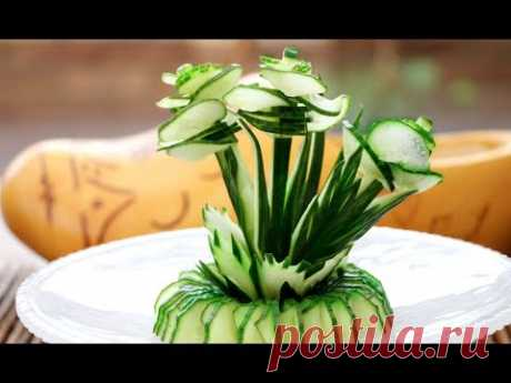 Art In Cucumber Show  | Vegetable Carving Garnish | Cucumber Rose