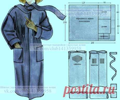 Пальто без боковых швов, сшитое ручными обметочными стежками. Подборка фото Шитье | простые выкройки | простые вещи #простыевыкройки #простыевещи #шитье #пальто #выкройка