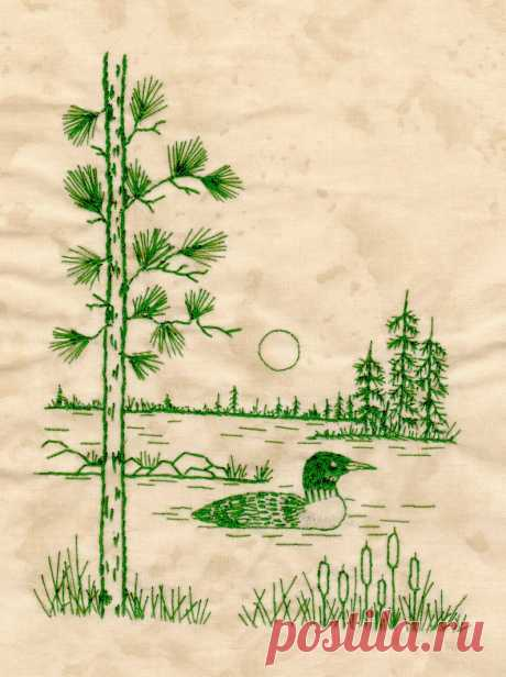 Northwoods Memories Quilt Pattern 12 Redwork Hand Embroidery   Etsy