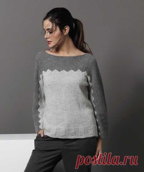 Цельновязаный серый джемпер (Вязание спицами) – Журнал Вдохновение Рукодельницы