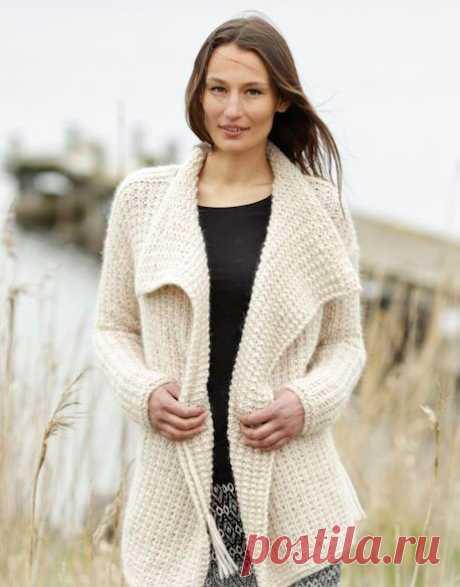 Жакет из толстой пряжи спицами – 12 моделей со схемами и описанием — Пошивчик одежды