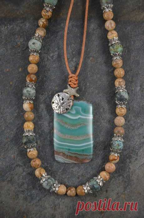 Artisan Necklace Set with Druzy Agate Pendant on Genuine Leather and Companion Strand of Picture Jasper and Matte African Turquoise