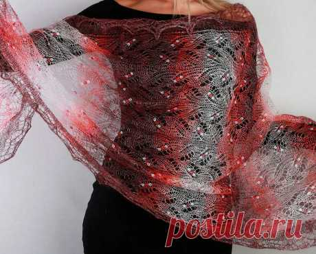 Платок Пуховый платок ручной работы палантин ажурный, (бордовый, белый), 200 х 60