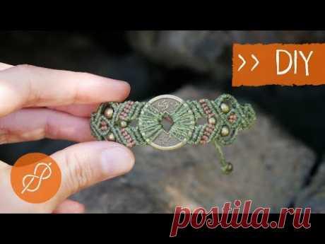 Макраме БРАСЛЕТ с жемчугом и монетой (Инструкция)