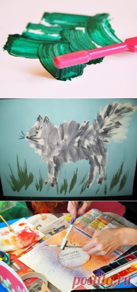 Нетрадиционные техники рисования. рисуем зубной щеткой — Поделки с детьми