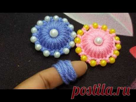 Hand Embroidery:#Sewing Hack/Amazing Finger trick Making unique flower with easy tips part 23