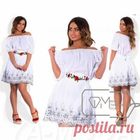 Летнее платье с вышивкой размер плюс